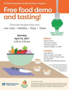 Local event- Food demo and tasting flyer